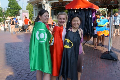 Students rocking their Green Lantern, Flash and Batman capes